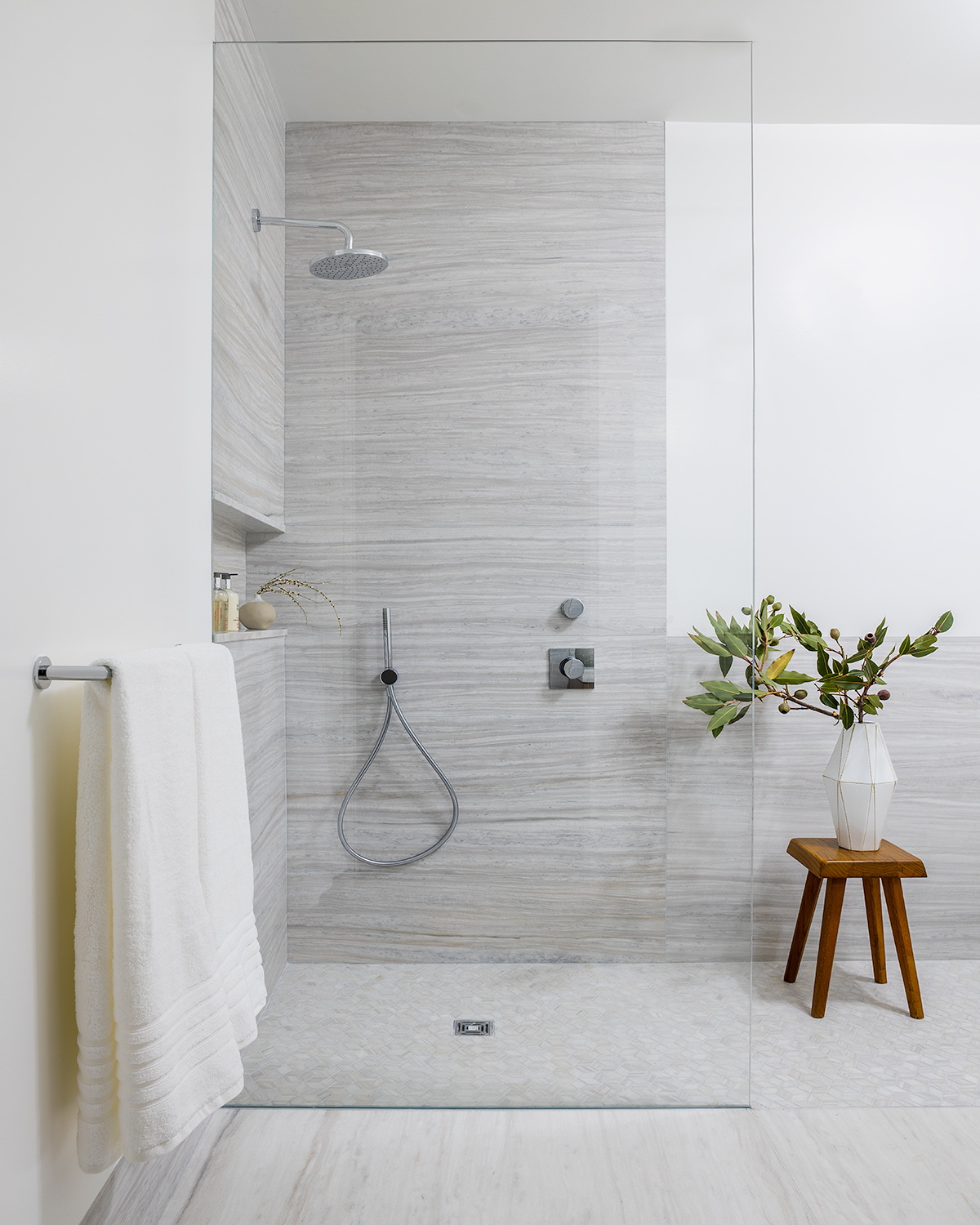 primary bath with stall shower at 532 W 20 condominiums in west chelsea